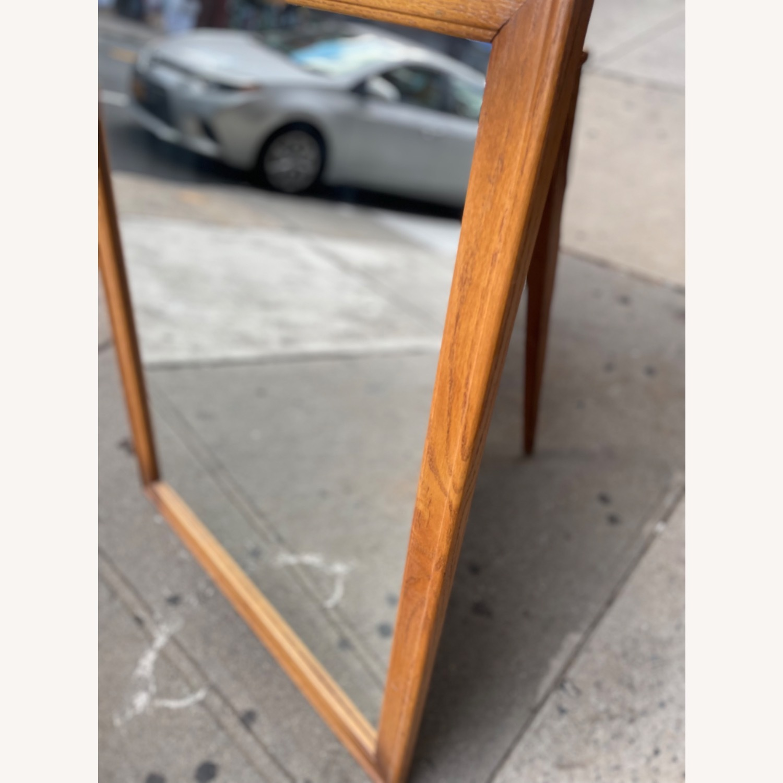 David M. Lea Mid Century Oak Framed Wall Mirror - image-6