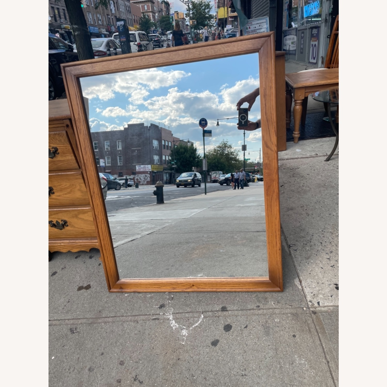 David M. Lea Mid Century Oak Framed Wall Mirror - image-3