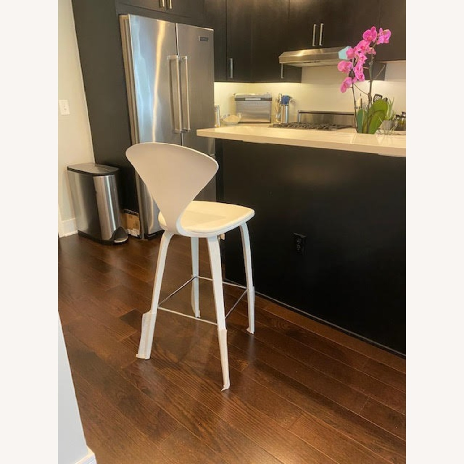 Cherner Stool with Leather Seat Pad - image-1