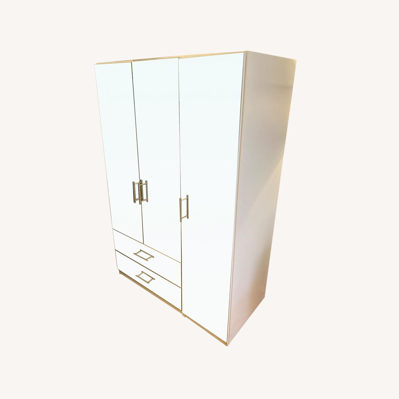 Mirrored White Armoire - image-0