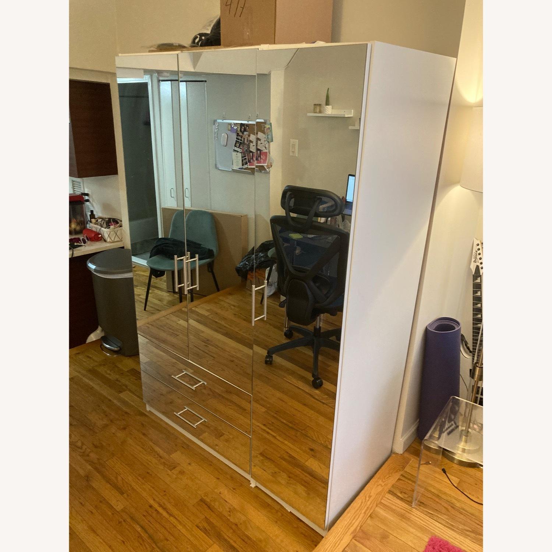 Mirrored White Armoire - image-2