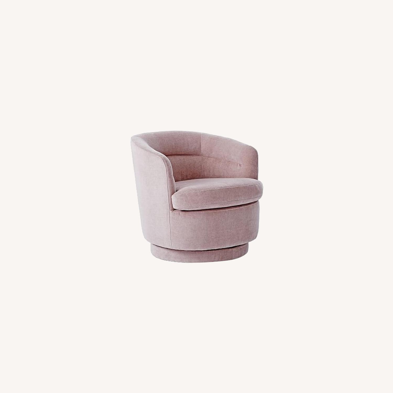 West Elm Pink Velvet Viv Swivel Chair - image-0