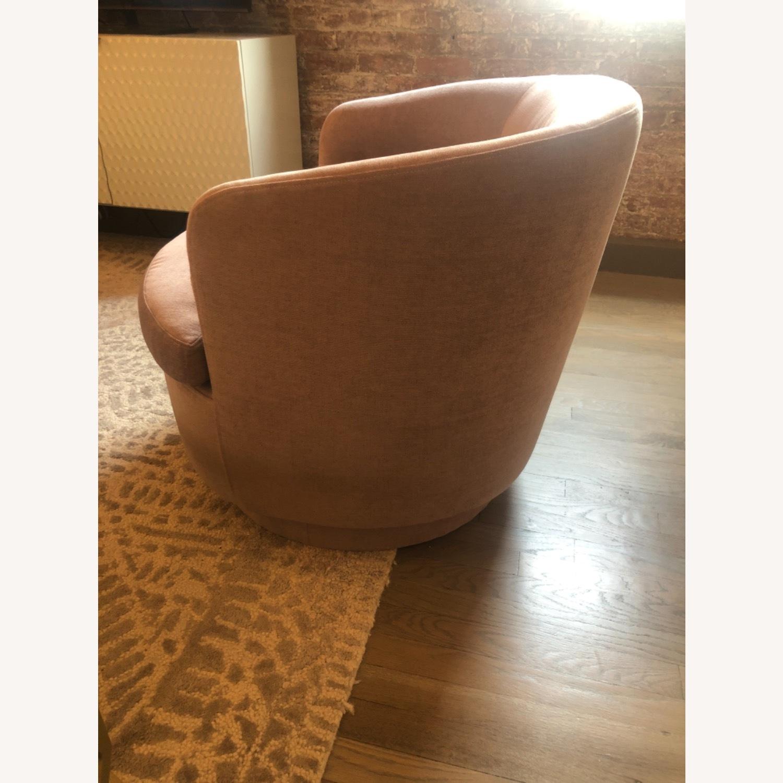 West Elm Pink Velvet Viv Swivel Chair - image-3