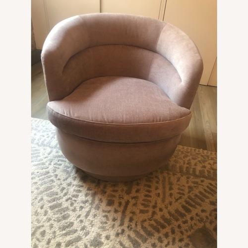 Used West Elm Pink Velvet Viv Swivel Chair for sale on AptDeco