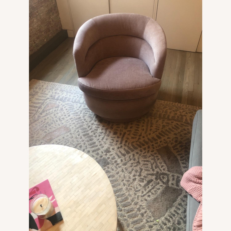West Elm Pink Velvet Viv Swivel Chair - image-2
