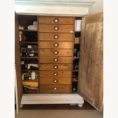 Used Antique Pine Hand-Painted Armoire for sale on AptDeco