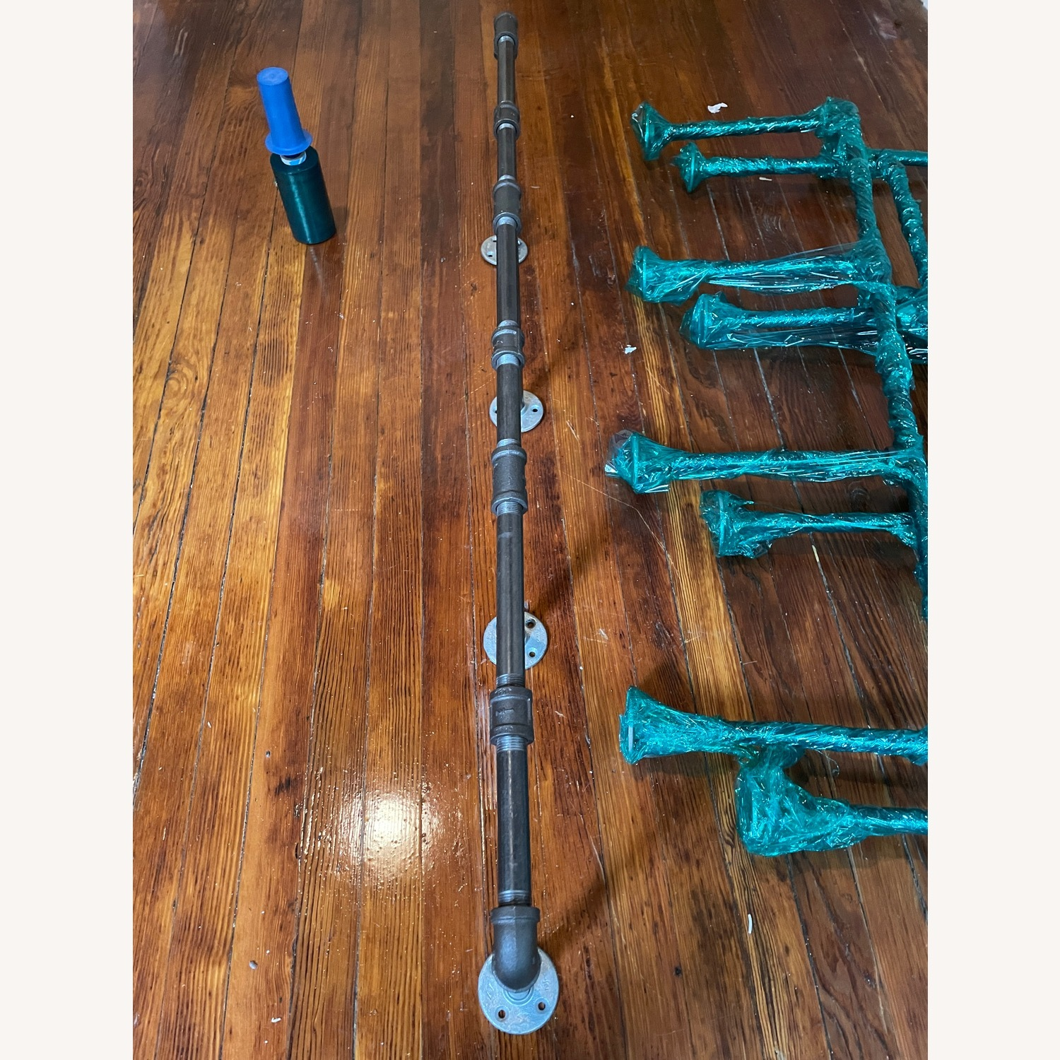 Custom Iron Pipe and Reclaimed Wood Shelves - image-11