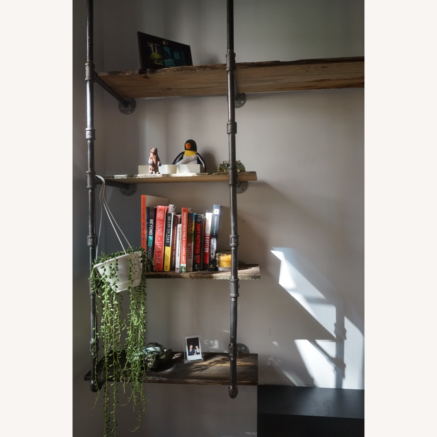 Custom Iron Pipe and Reclaimed Wood Shelves - image-14