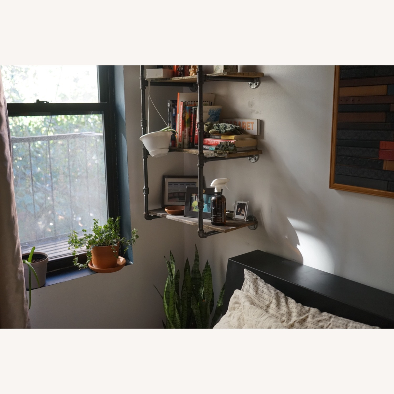 Custom Iron Pipe and Reclaimed Wood Shelves - image-2