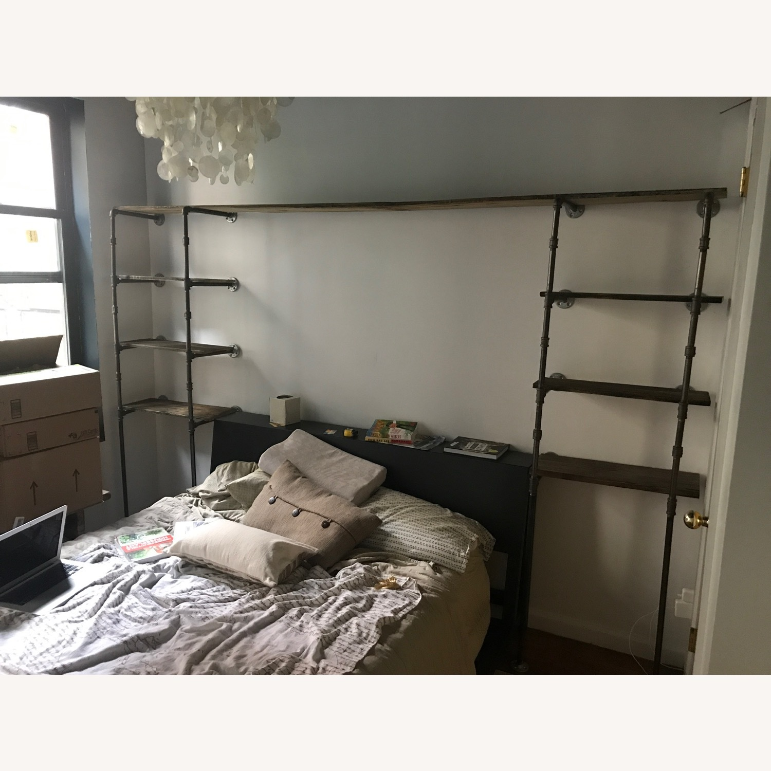 Custom Iron Pipe and Reclaimed Wood Shelves - image-12