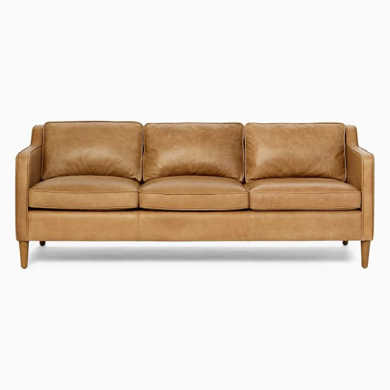 West Elm Hamilton Leather Sofa - image-6