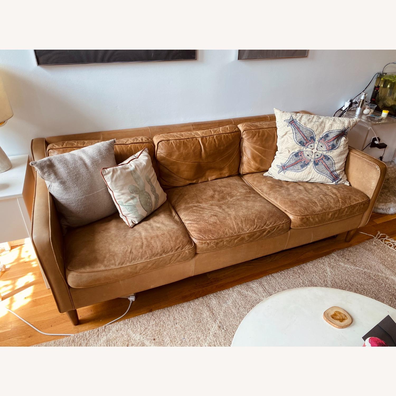 West Elm Hamilton Leather Sofa - image-5
