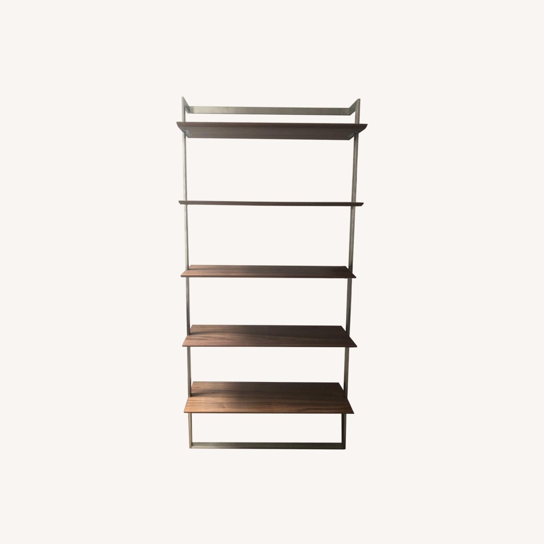 Room & Board Walnut & Steel Beam Bookcase - image-0