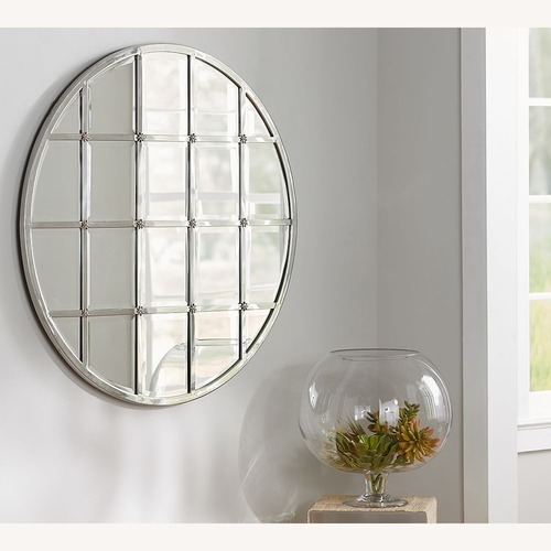 Used Pottery Barn Eagan Round Multipanel Wall Mirror for sale on AptDeco