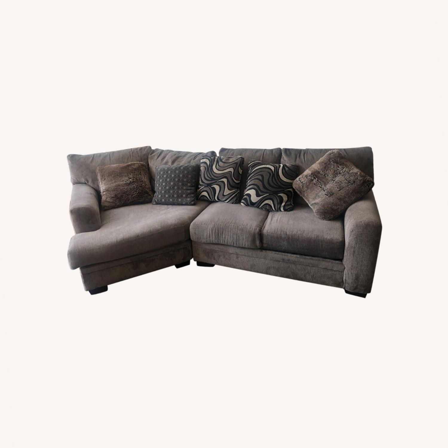 Microfiber 2 piece Sectional includes the Cuddler - image-0