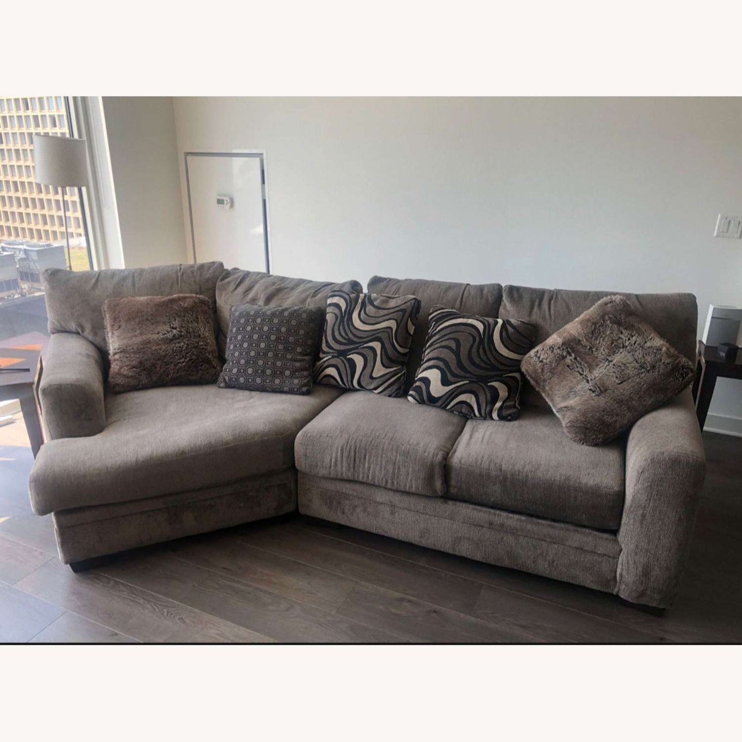Microfiber 2 piece Sectional includes the Cuddler - image-1