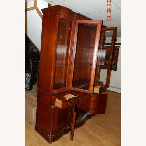 Used Morganton China Cabinet w Serpentine Glass for sale on AptDeco