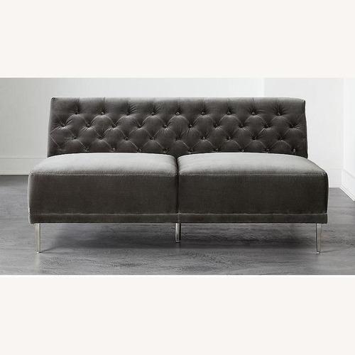 Used CB2 Grey Velvet Armless Loveseat for sale on AptDeco