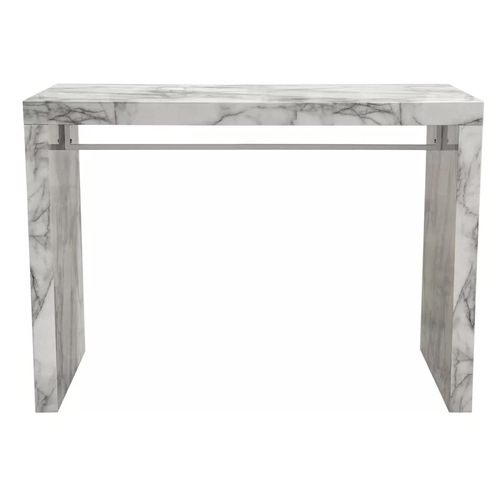 Used Icon Faux Marble Waterfall Bar Height Table for sale on AptDeco