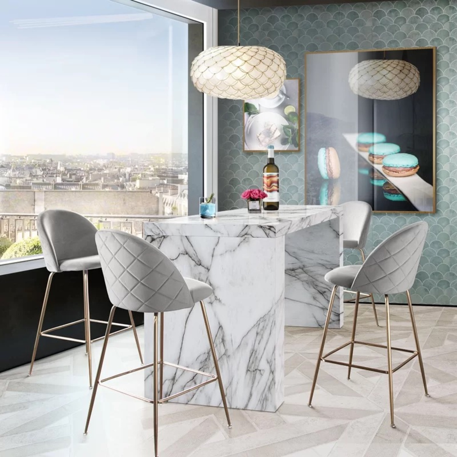 Icon Faux Marble Waterfall Bar Height Table - image-3