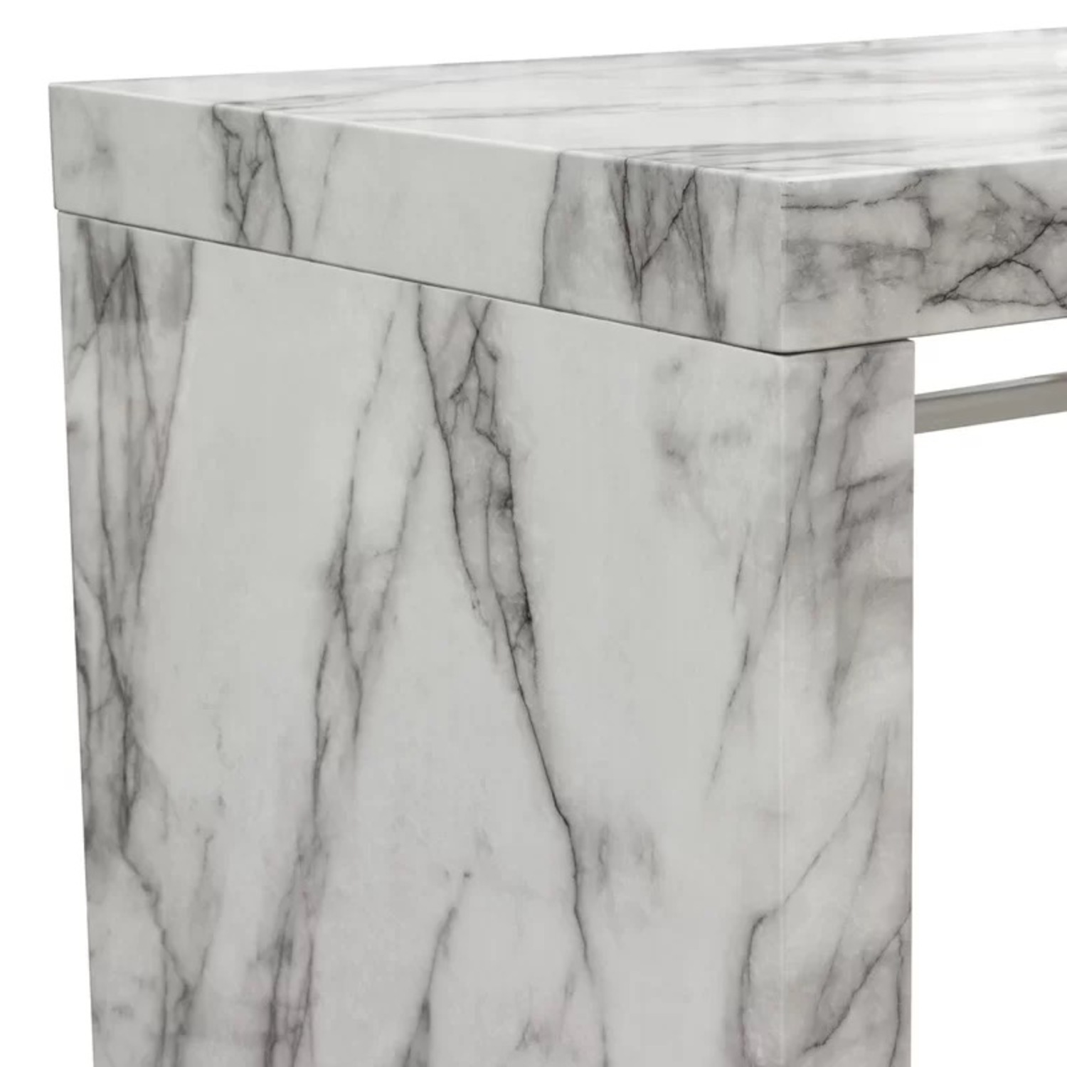 Icon Faux Marble Waterfall Bar Height Table - image-7