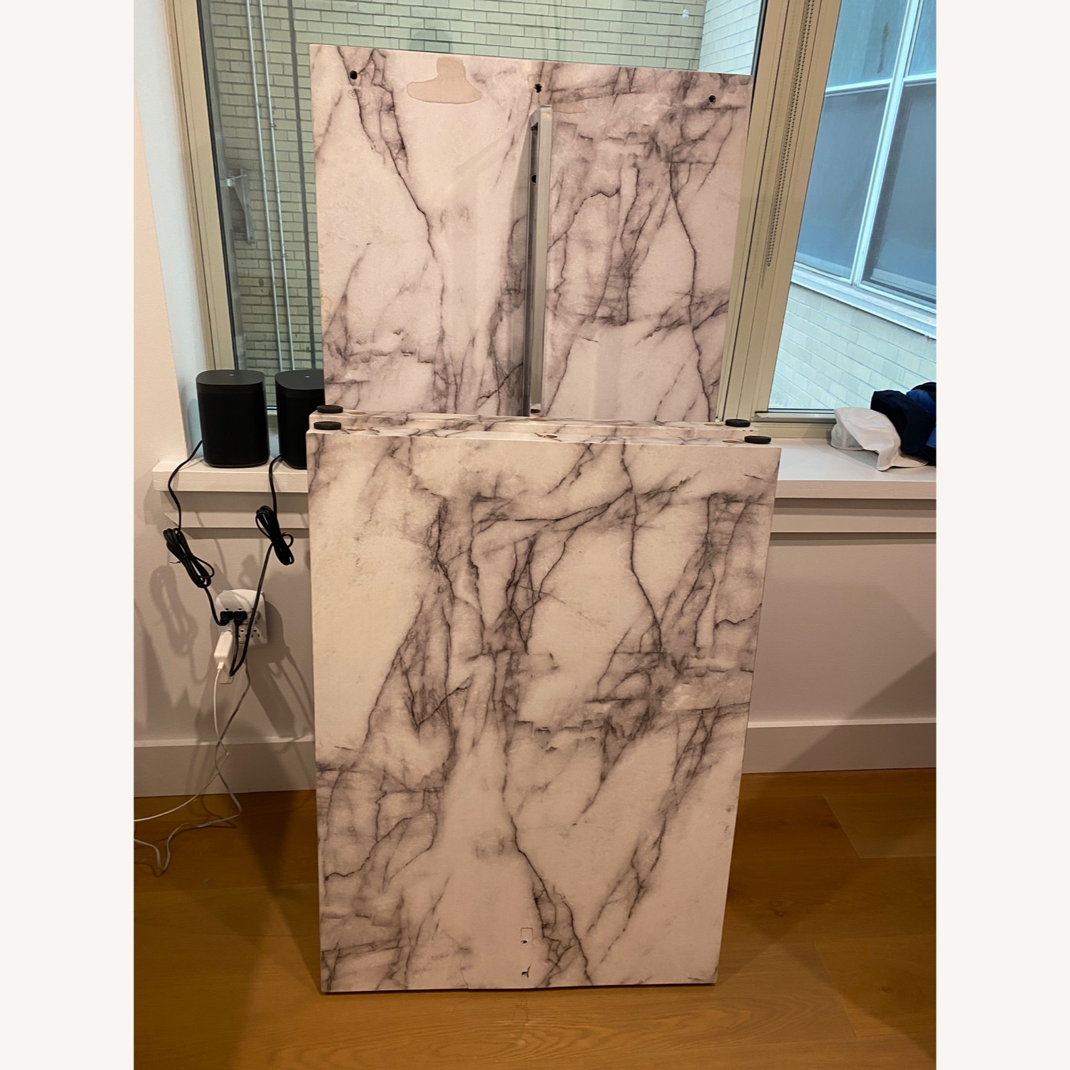 Icon Faux Marble Waterfall Bar Height Table - image-9