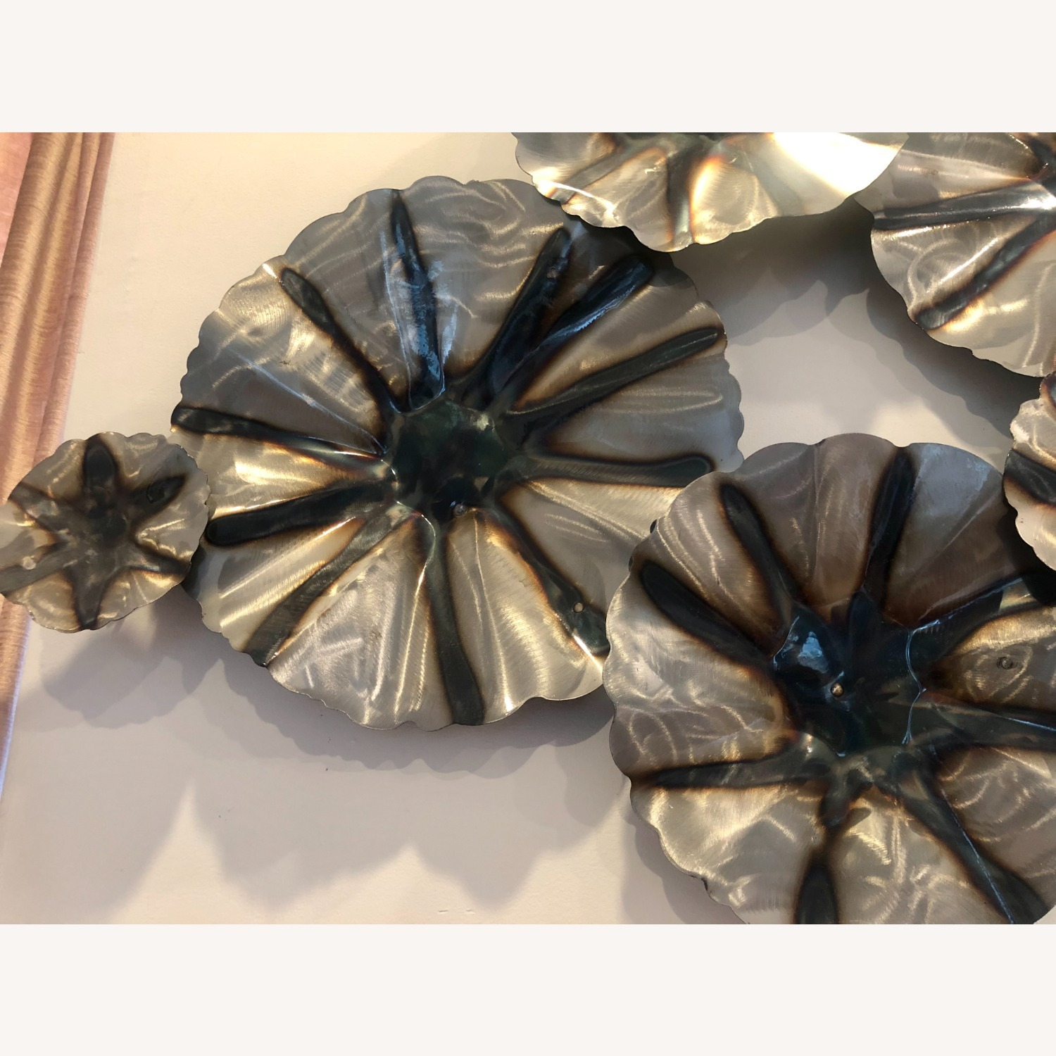 Industrial Metal Wall Art with a Floral Motif - image-3
