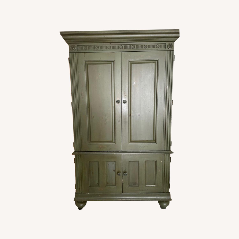 Ballard Desk Armoire -Green Wood - image-0