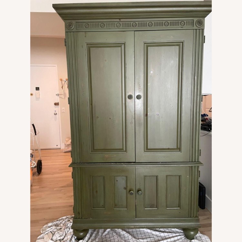 Ballard Desk Armoire -Green Wood - image-1