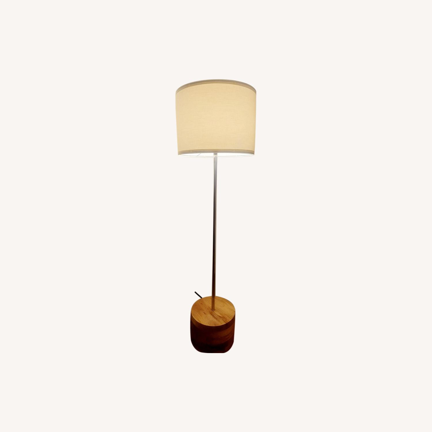 Crate & Barrel Acacia Flooe Lamp with Linen Shade - image-0
