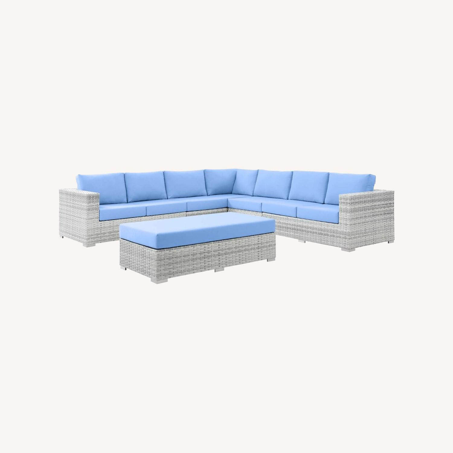6-Piece Outdoor Patio Sectional In Light Blue Seat - image-16