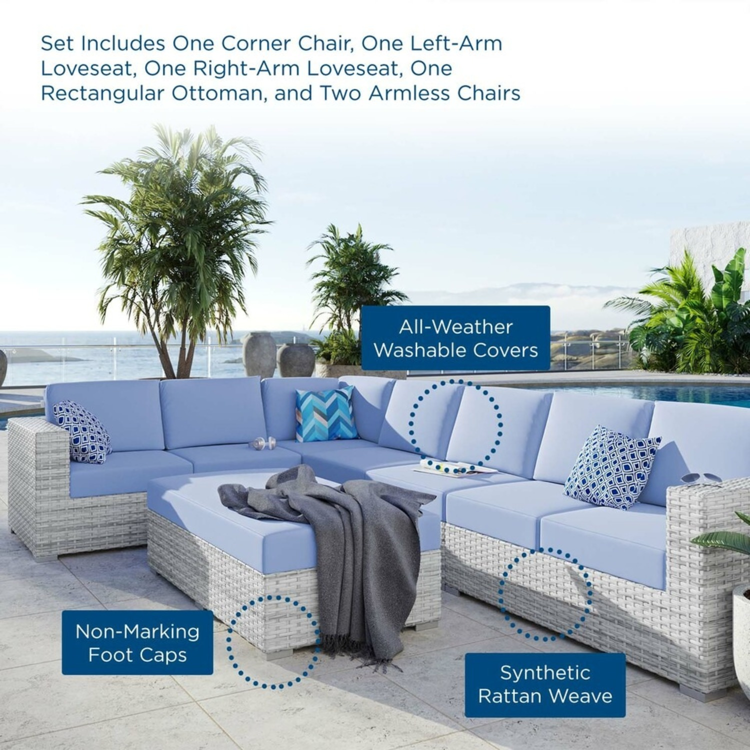 6-Piece Outdoor Patio Sectional In Light Blue Seat - image-15