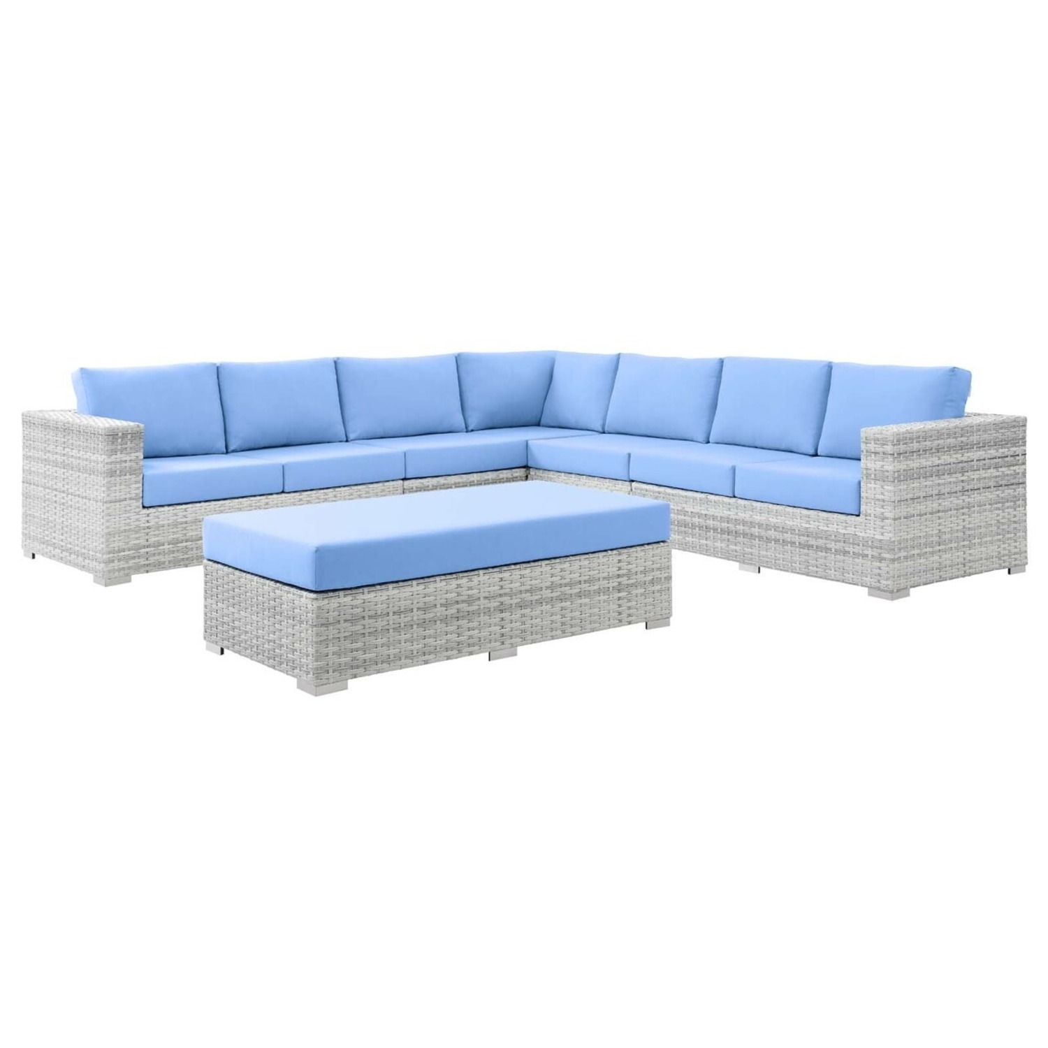 6-Piece Outdoor Patio Sectional In Light Blue Seat - image-0