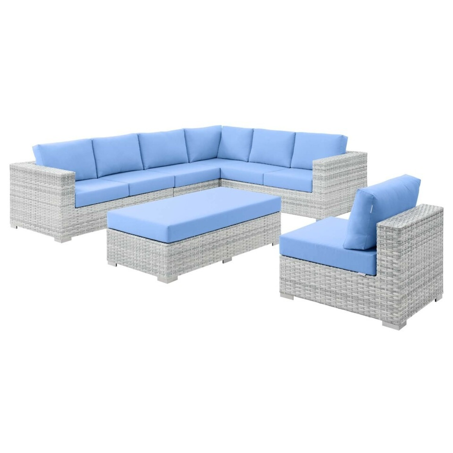 6-Piece Outdoor Patio Sectional In Light Blue Seat - image-1