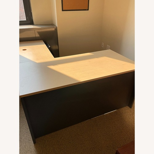 Used Steelcase LDesk Laminated Wood Top & Cabinets for sale on AptDeco