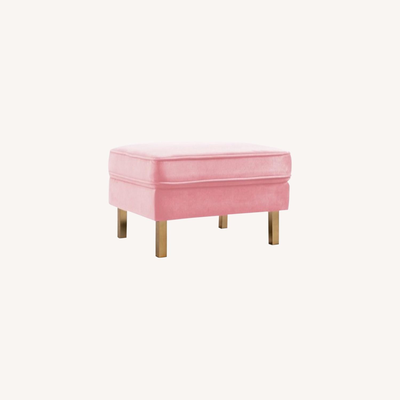 Albany Industries Pink Velvet Ottoman - image-0