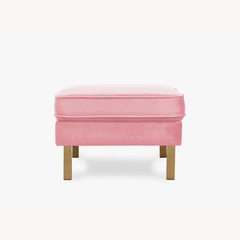 Albany Industries Pink Velvet Ottoman - image-2