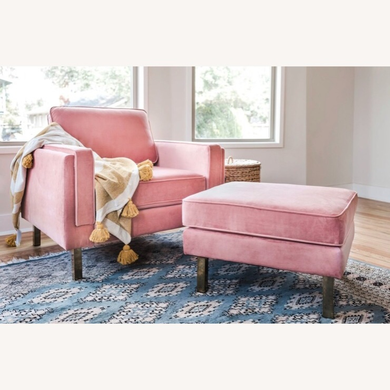 Albany Industries Pink Velvet Ottoman - image-3