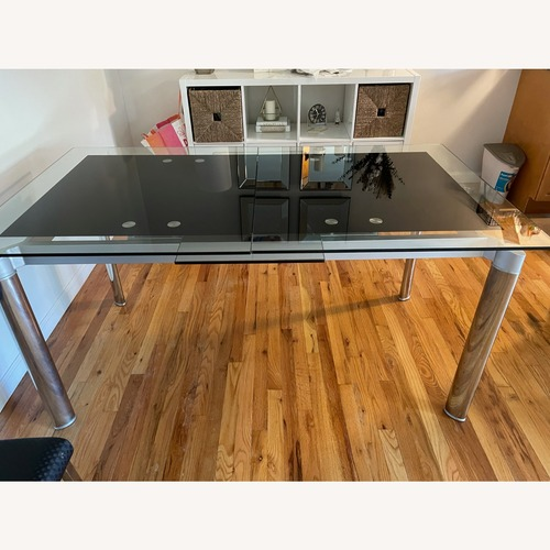 Used Extendable Glass Dining Table (w/chairs) for sale on AptDeco