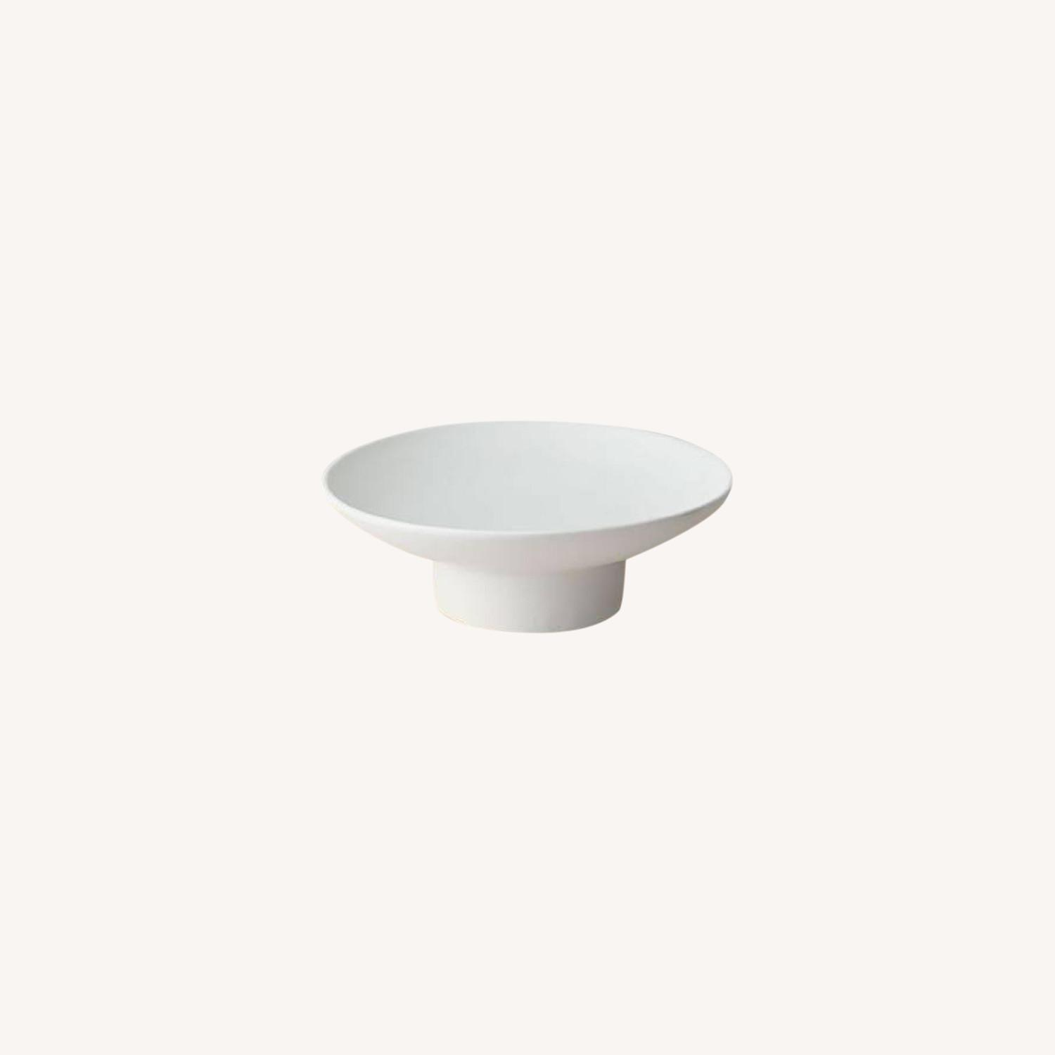 West Elm Natural White Ceramic Footed Centerpiece Bowl - image-0