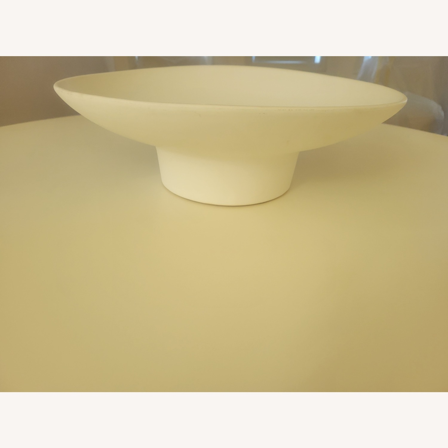 West Elm Natural White Ceramic Footed Centerpiece Bowl - image-1
