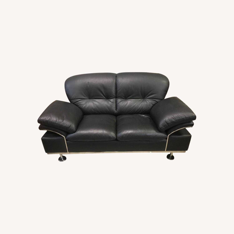 Black Leather Loveseat - image-0