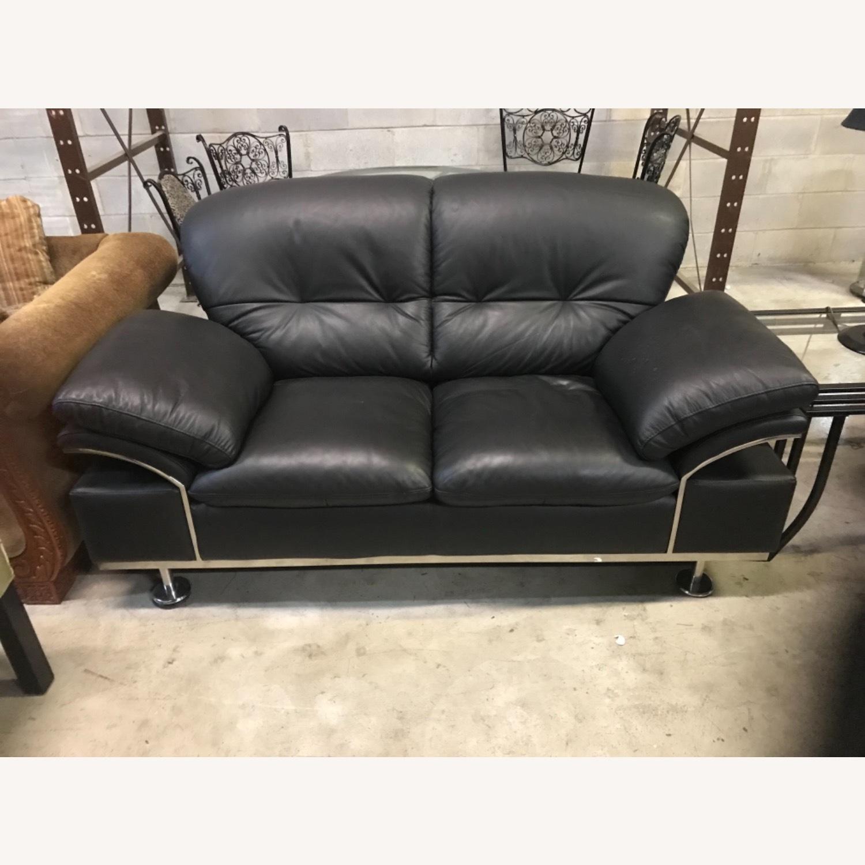 Black Leather Loveseat - image-1