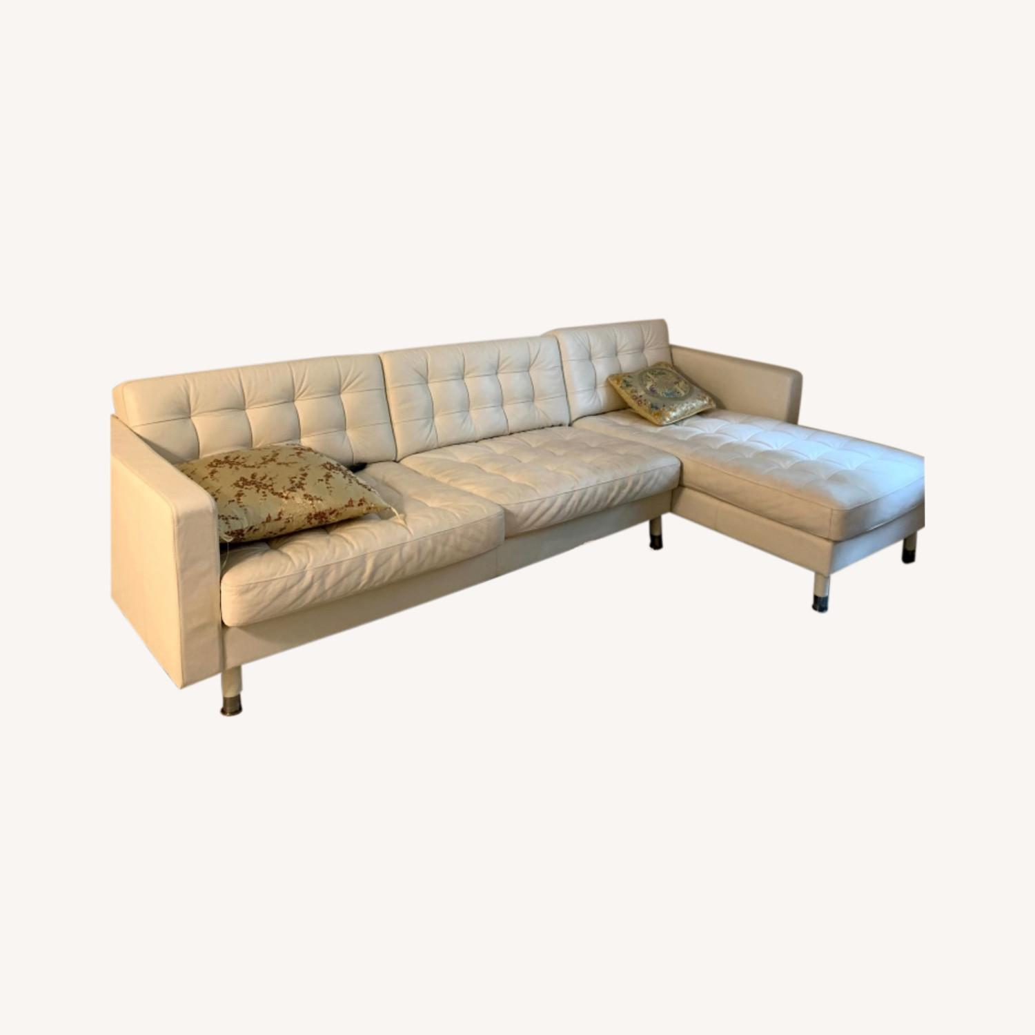 IKEA Sectional white Couch - image-0