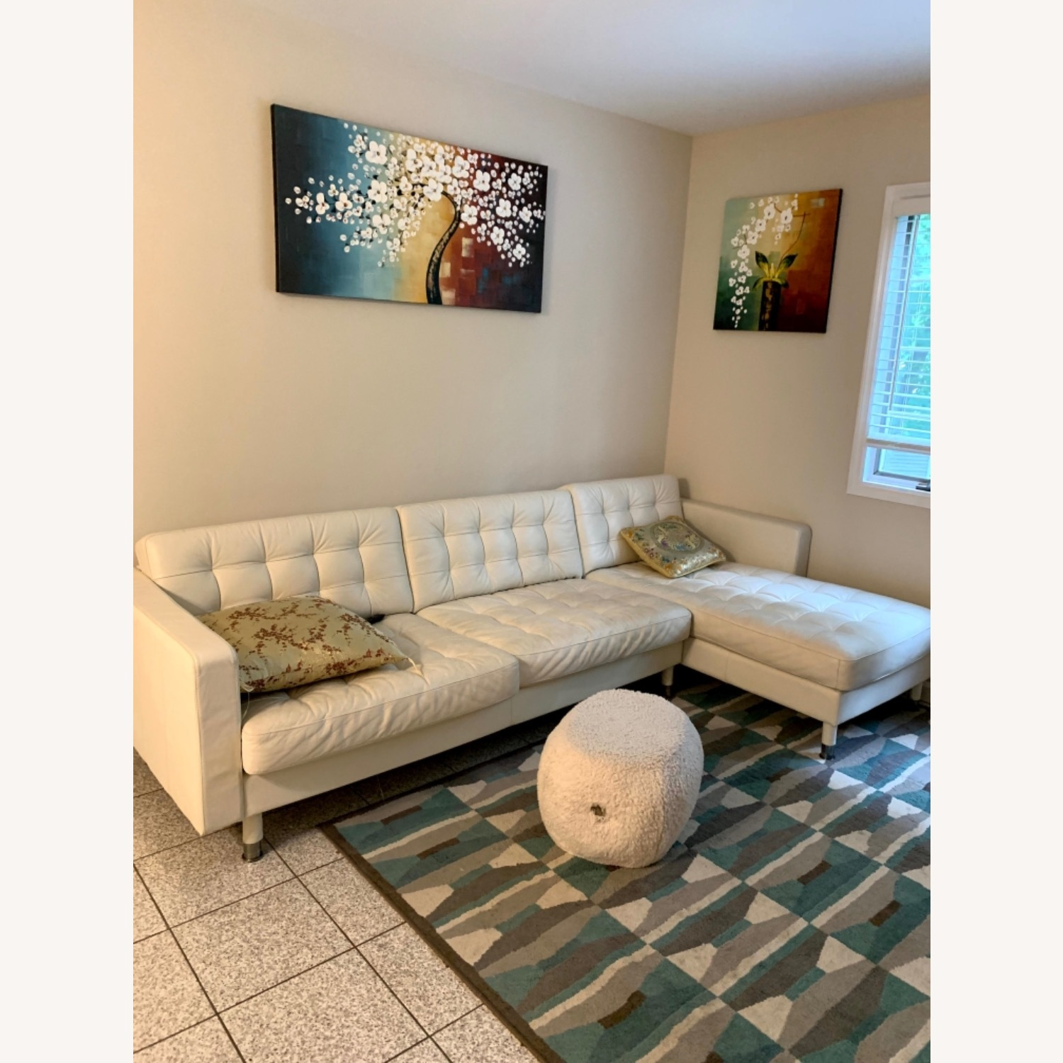 IKEA Sectional white Couch - image-1