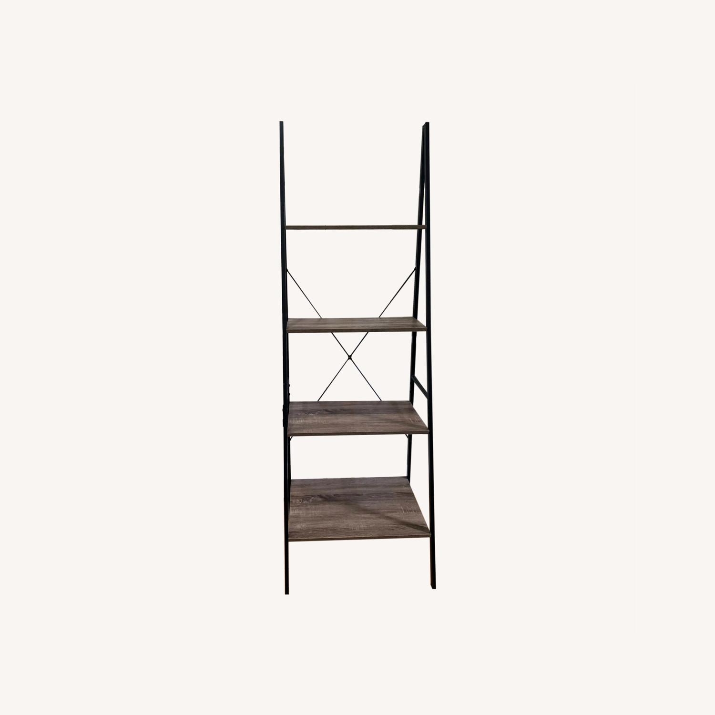 4-Tier Gray Wood Ladder Shelf Bookcase - image-0