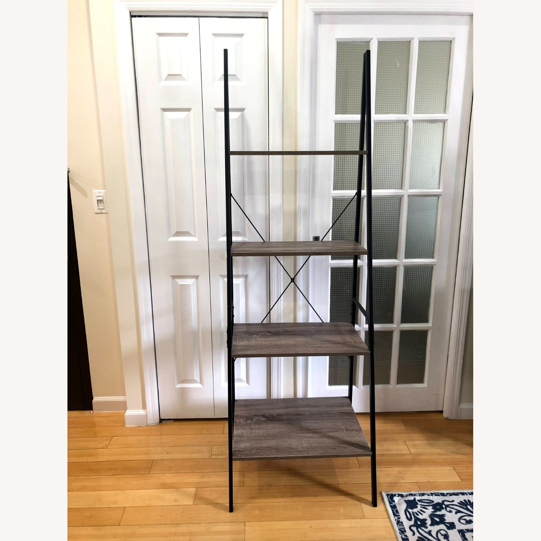 4-Tier Gray Wood Ladder Shelf Bookcase - image-3