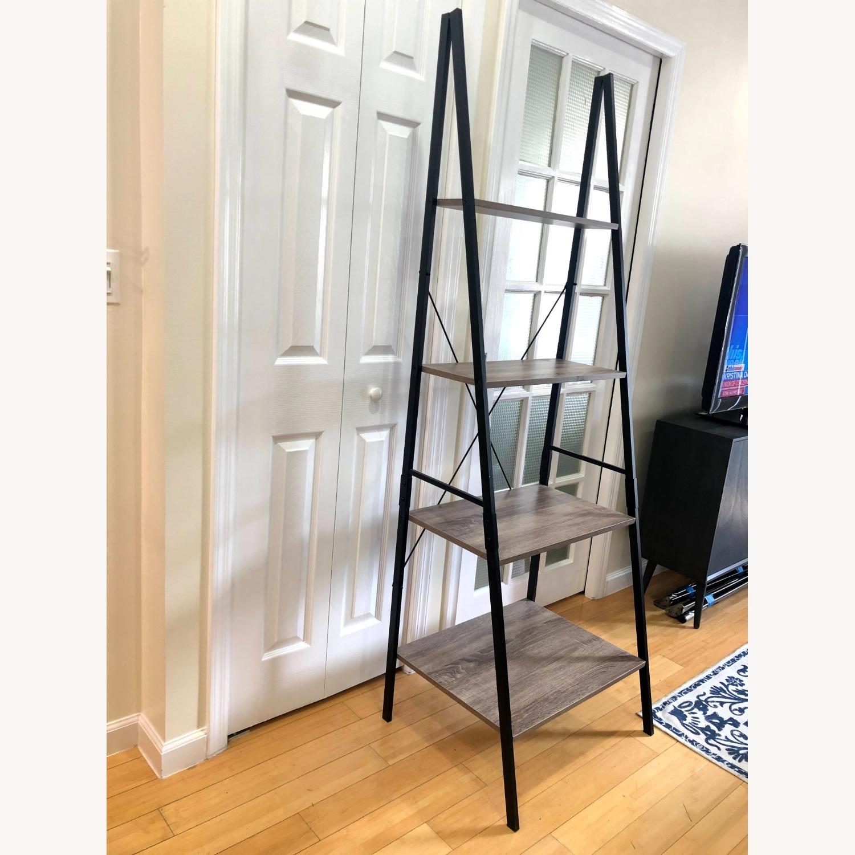 4-Tier Gray Wood Ladder Shelf Bookcase - image-2