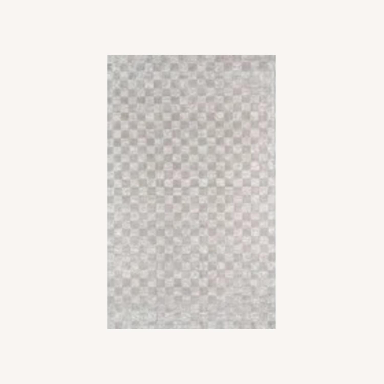 Wayfair Cream Checkered Silk Rug - image-0