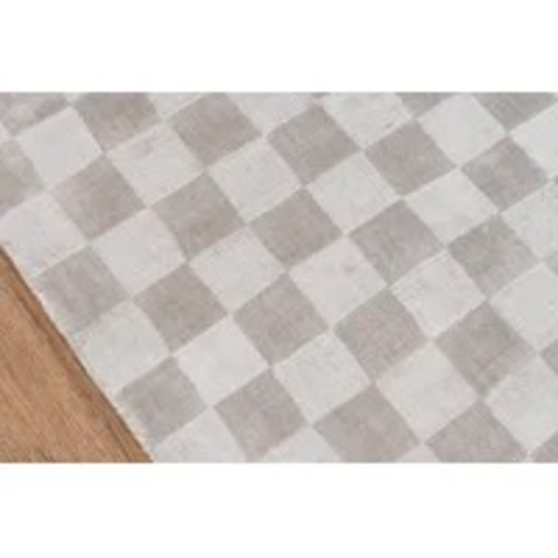Wayfair Cream Checkered Silk Rug - image-1